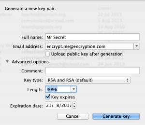 GPG Keychain - enter new key